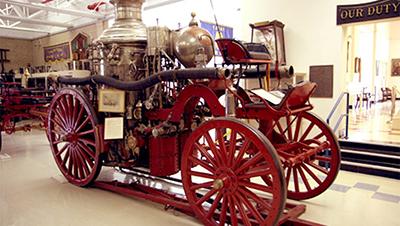 vintage firefighting equipment on display