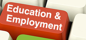 Education and Employment text on keyboard keys