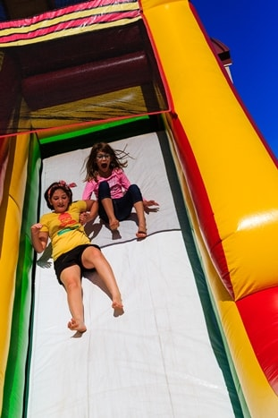 Two girls on the slide