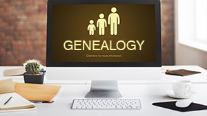 Genealogy image on a computer monitor