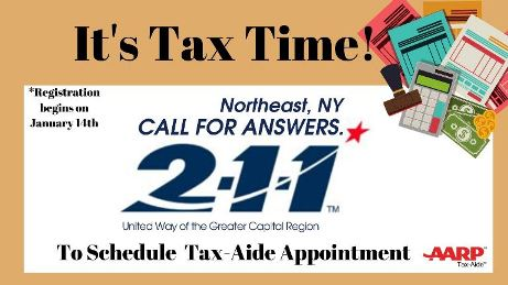 Call 211 to schedule a TaxAide appointment
